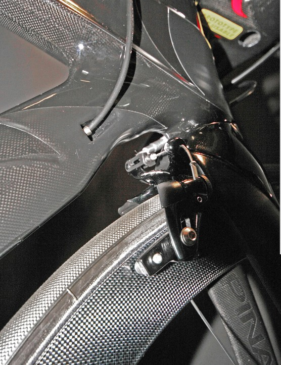 Rear facing front brake on the Pinarello Graal