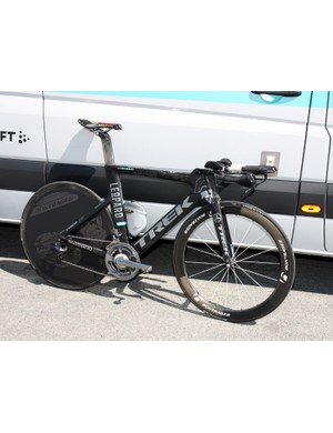 It's a woefully overused cliché but it's still utterly appropriate: Fabian Cancellara's (Leopard-Trek) Trek Speed Concept looks fast standing still - and thankfully Spartacus has the legs and lungs to back it up