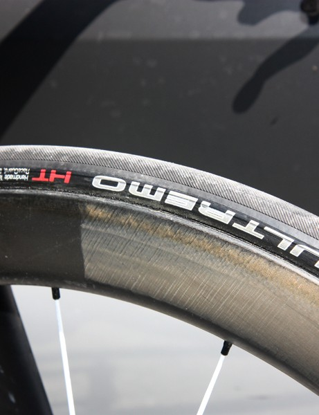 Fabian Cancellara's (Leopard-Trek) Bontrager Aeolus wheels are wrapped with Schwalbe Ultremo HT tubular tires