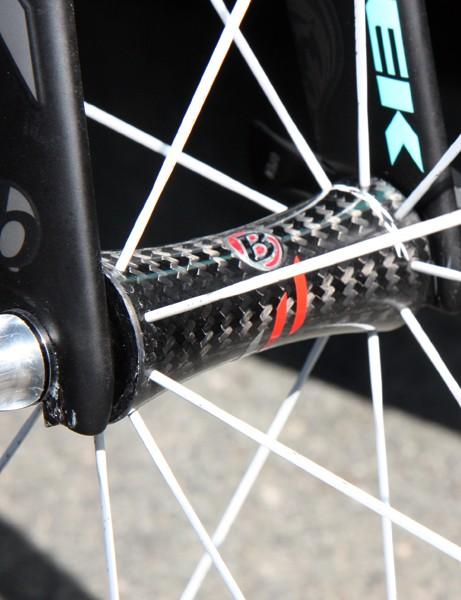 Fabian Cancellara's (Leopard-Trek) Bontrager Aeolus 5 front wheel rotates around a carbon fiber hub