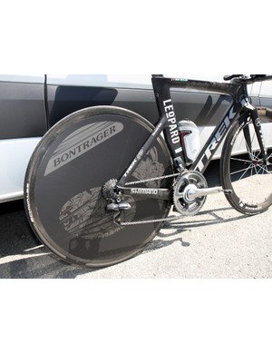 The rear wheel is covered with a big 'Bontrager' decal but underneath is a Lightweight disc