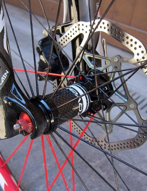 Specialized don't use a through-axle on the front of their S-Works Stumpjumper 29er but the hugely oversized hub end caps seem to do a good job of keeping flex at bay