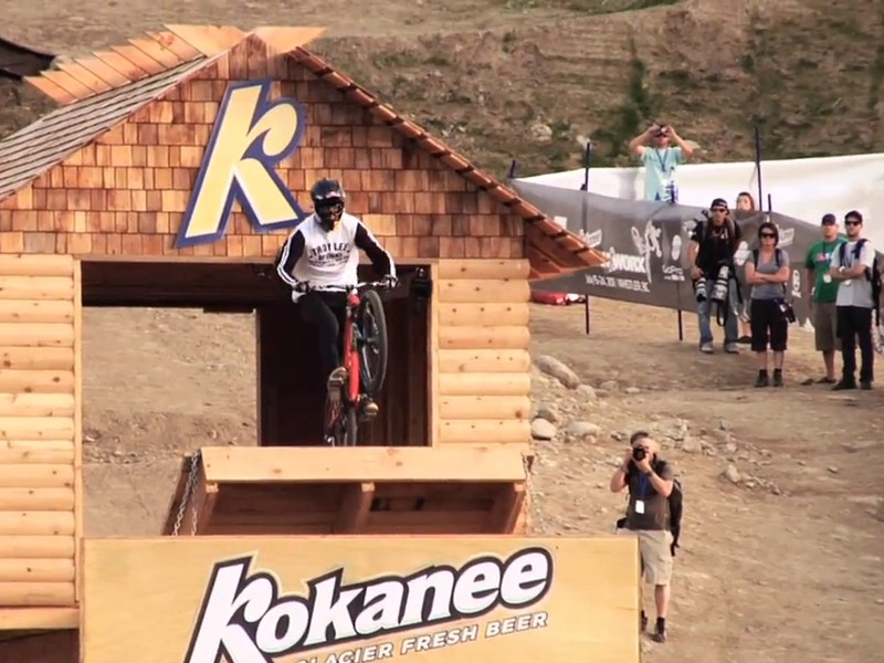 Brandon Semenuk scored his first win at Crankworx with a scorching run that ended with a flip-whip off this ramp
