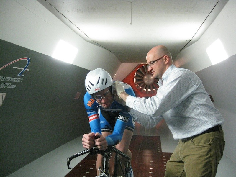 Dr. Iñigo San Millán drawing blood from United Healthcare's Rory Sutherland for a lactate test