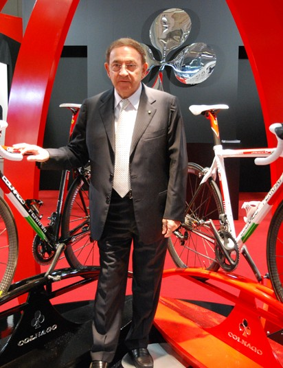 Ernesto Colnago proudly shows off his Ferrari branded bicycles