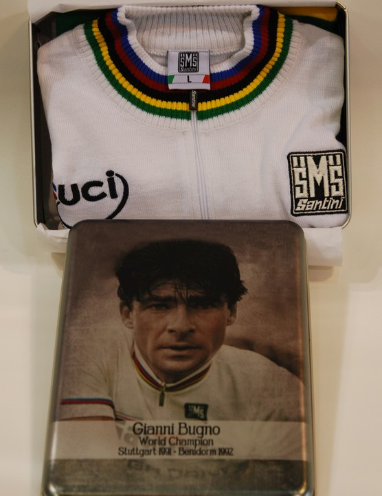 """Italian clothing manufacturer Santini is introducing a Gianni Bugno limited edition wool """"World Champions"""" jersey to honor the former Italian pro cyclist"""