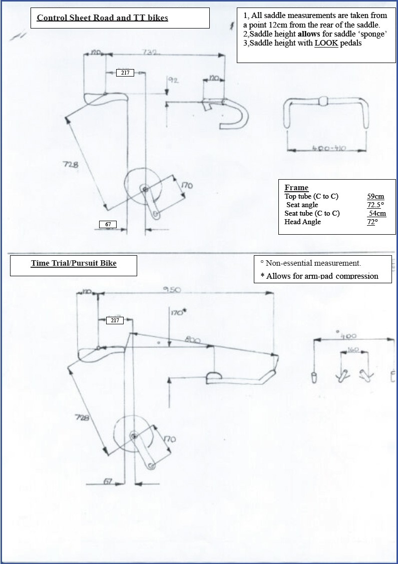 Chris Boardman's own road and time trial bike positioning sheet