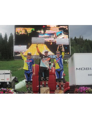 The men's UCI C1 downhill podium (l to r): Kevin Aiello, Mickael Pascal, Logan Binggeli