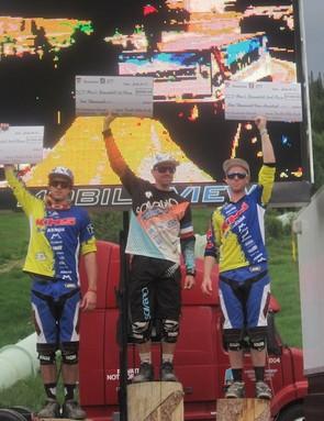 The men's UCI C1 downhill podium (l to r): Kevin Aiello, Mickael Pascal, Logan Binggeli