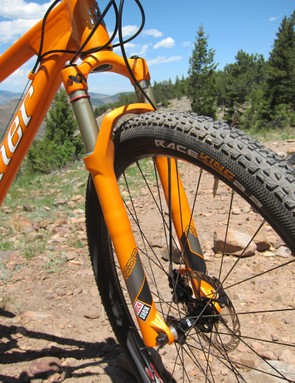 Painted-to-match forks are rarity on production bikes but Niner has knocked this metallic