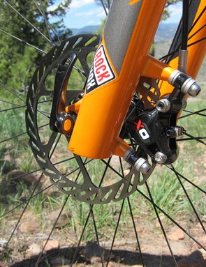 The 160mm front rotor provides enough stopping power for most typical cross-country situations.  Riders that frequently head down long descents might want to upgrade to a larger disc, though