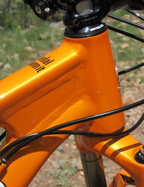 The Niner JET 9's tapered head tube is reinforced with this burly box-type gusset