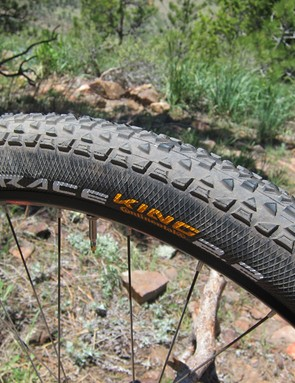 Continental's Race King tires are fast and grippy on hardpack with plenty of volume.  The sidewall reinforcement is a necessity, though, as the knobs don't extend past the sides of the casing.  Loose terrain poses a challenge, too, but Niner offers the knobbier Mountain King tread as a standard option