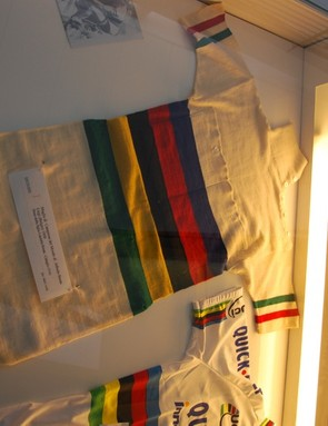 Not exactly the most comfortable looking bike attire, this World Champion's jersey to Alfredo Binda Liegi of Belgium dates back to 1930