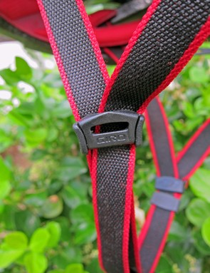 Giro has even miniaturized the cam-lock sliders on the Aeon to save a few more grams.  The lightweight webbing is borrowed from the Prolight