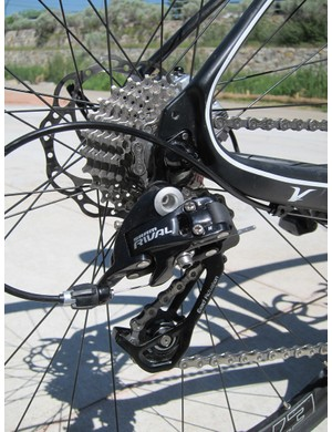 The SRAM Rival rear derailleur reliably rattled off shift after shift on our test bike