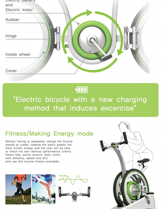 An e-bike that charges when you ride it as an exercise bike