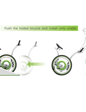 Push the bike into the cradle