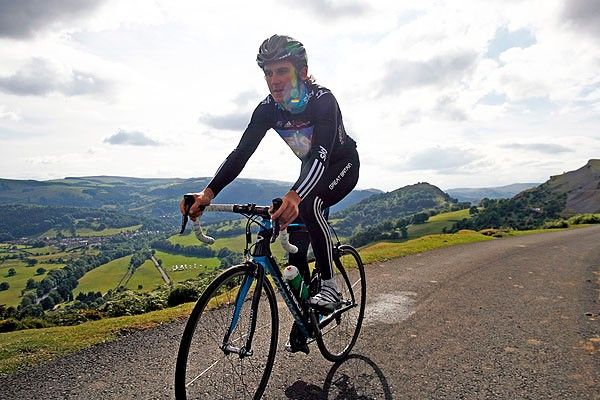 Geraint Thomas tackles one of the climbs in the Etape Cymru, a closed road sportive in north Wales on October 9