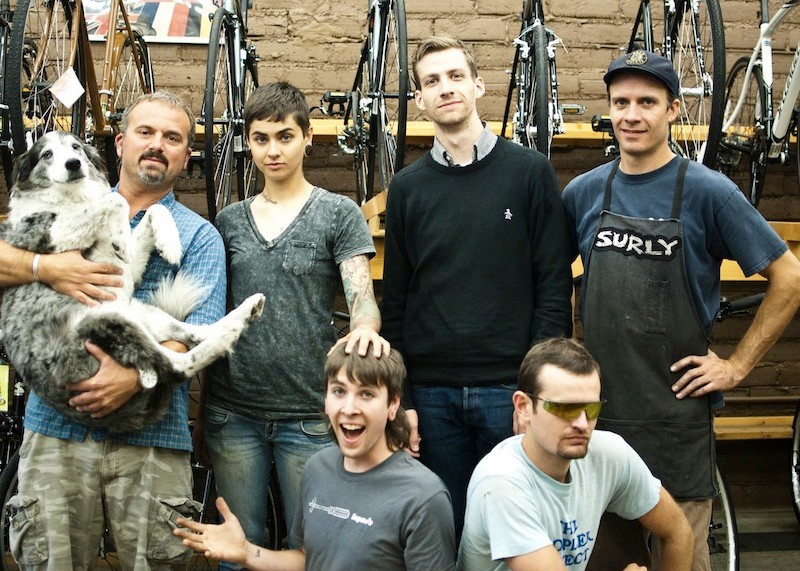 These guys want to sponsor you, the 21st Avenue Bicycles crew: (from left) Kato (dog) Park, Amanda, Sean, Nick (now at Beloved Bicycles), Atlin, Kyle (seated)