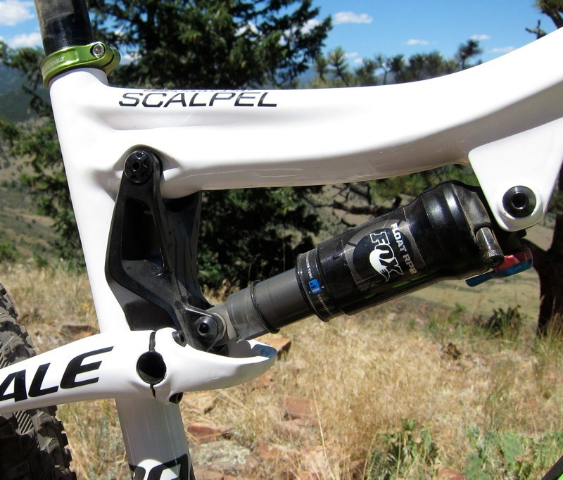Johnson's Scalpel is equipped with a Fox RP2 ProPedal rear shock; it has a high compression tune, which gives a locked feel