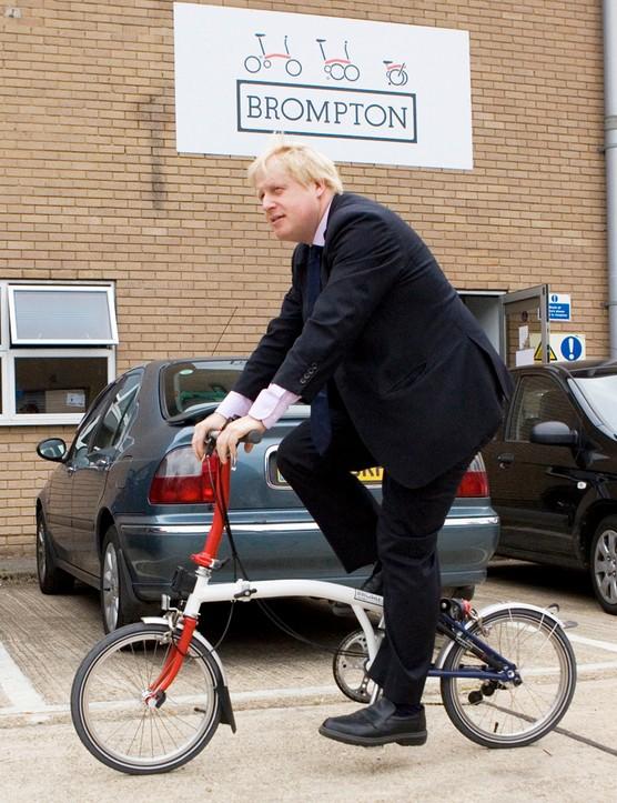 Boris Johnson tries out a Brompton