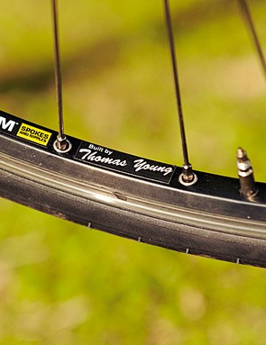 Handbuilt wheels – in our test bike's case, by Thomas young!