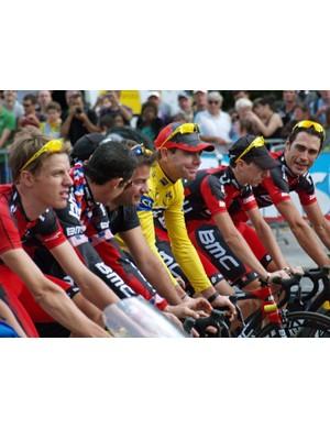 The BMC team lead Cadel Evans to victory in Paris