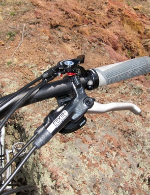 The stock Avid Elixir 5 hydraulic disc brakes provided good power and modulation during testing but we were still left wanting a little more for lift-access riding