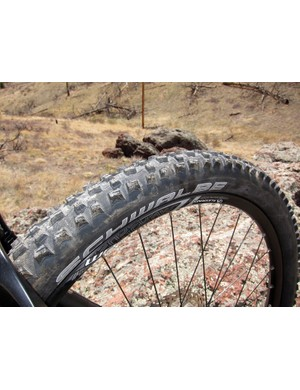 The stock Schwalbe Fat Albert tires were voluminuous and durable but not especially confidence-inspiring on either hardpack or looser terrain