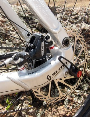 Scott tucks the rear brake caliper inside the rear triangle for a little extra impact protection