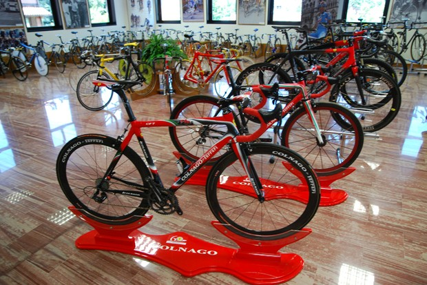 Some of the dozens of bicycles in the Colnago bicycle museum