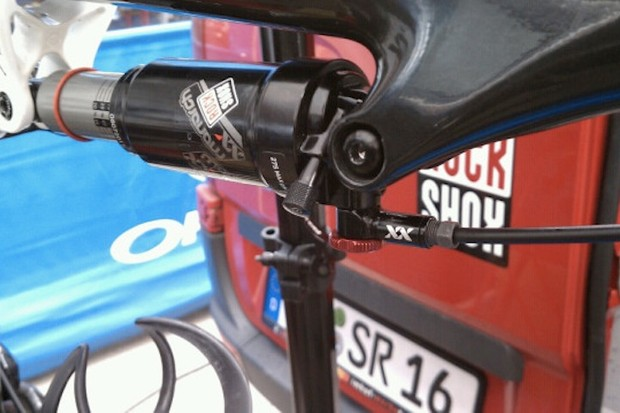 """RockShox has provided some of its sponsored riders with these prototype Monarch XX rear shocks, which use the same XLoc hydraulic lockout technology as on the XX-level forks.  Consumers can expect to see these officially launched at Eurobike as part of the 2012 model lineup"""