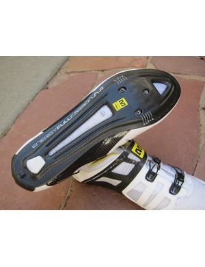 The new cutout sole on the Mavic Huez shoe is also ventilated