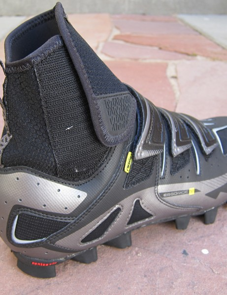 The Neoprene cuff on the new Mavic Drift winter mountain bike shoe is articulated at the front of the ankle for less restrictive movement