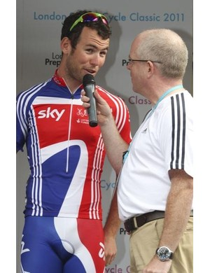 Britain's Mark Cavendish is interviewed before the race.
