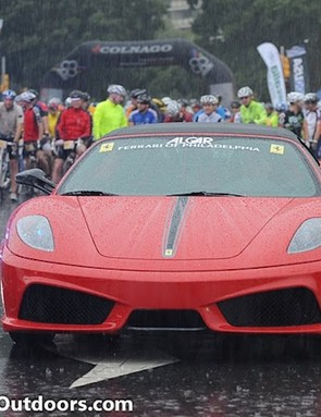 One of Algar's Ferrari's waits for the start