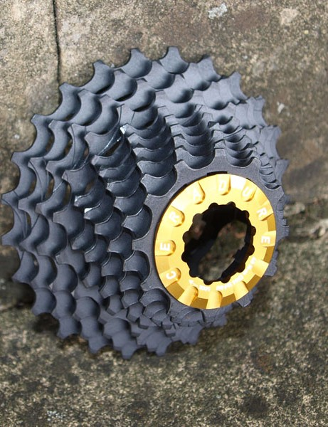 The Ceradure 10 speed cassette, claimed to be the world's lightest at 84g plus 4g for the lockring