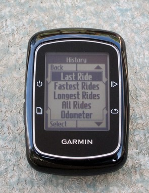The computer's onboard memory can pull up your ride history right on the screen. We haven't had a chance to test the total capacity, though