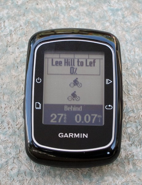 Upload a course and race yourself on the Garmin Edge 200. And hey, buddy, you haven't even left the starthouse yet and you're already 27 seconds behind - pick it up