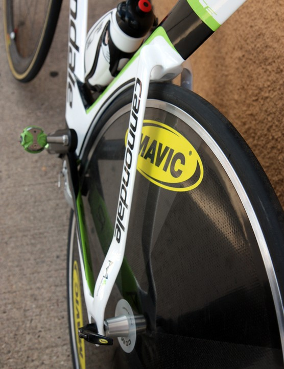 The seatstays on Cannondale's new Slice hug the rear wheel before making a quick turn outward to the dropout