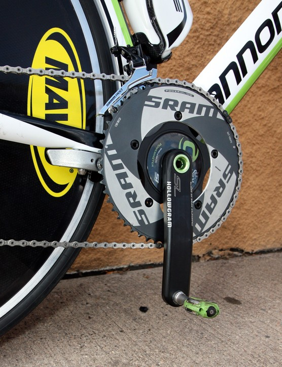 An SRM power meter is attached to the Cannondale Hollowgram SL crankarms