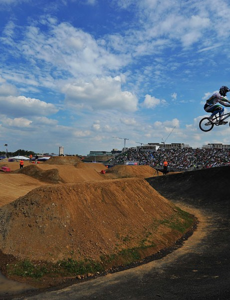 Arturs Matisons of Latvia is pictured during a practice session at the Olympic BMX course in Stratford, east London
