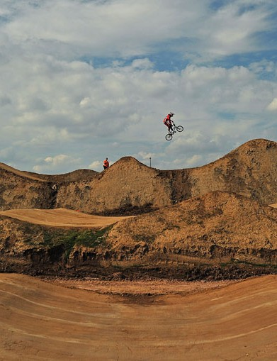 A rider is pictured during a practice session at the Olympic BMX course in Stratford, east London
