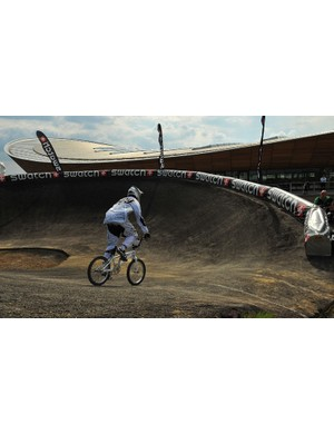A BMX rider is pictured during a practice session at the Olympic BMX course in Stratford, east London