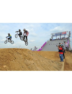 BMX riders during a practice session