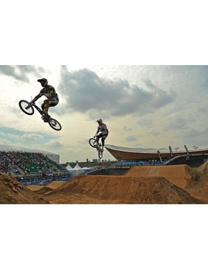 BMX riders are pictured during a practice session at the Olympic BMX course