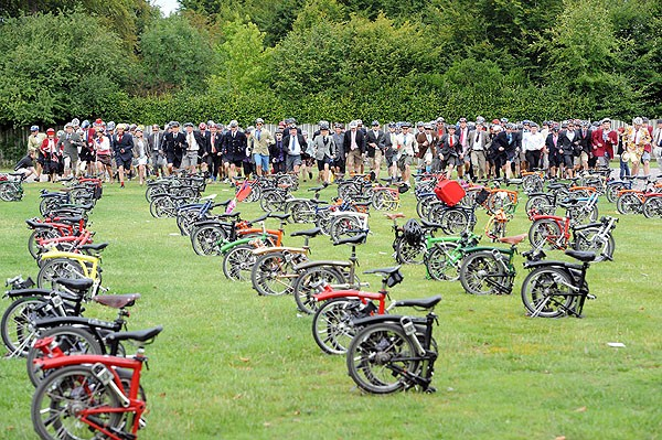 Competitors await starters orders at the sixth annual Brompton World Championships yesterday