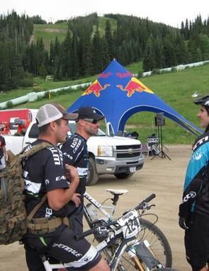 Weir and Cruz talk shop with Yeti's Mike West