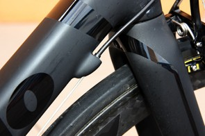 Carbon housing stops on Tom Danielson's (Garmin-Cervélo) Cervélo R5ca are molded into the rest of the carbon structure.